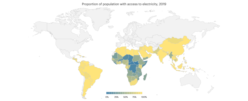 Proportion of population with access to electricity map