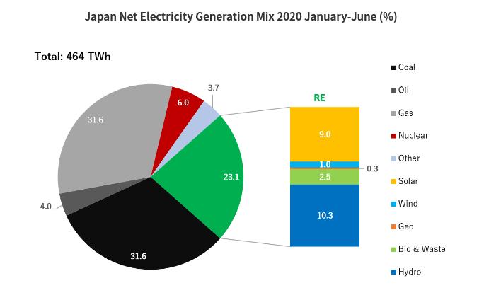 Japan Net Electricity Generation Mix 2020 pie chart