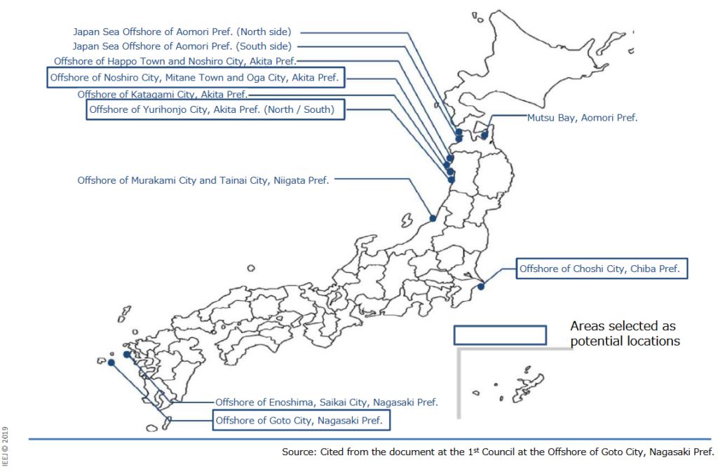 Map of Japanese districts with plans for offshore wind power projects