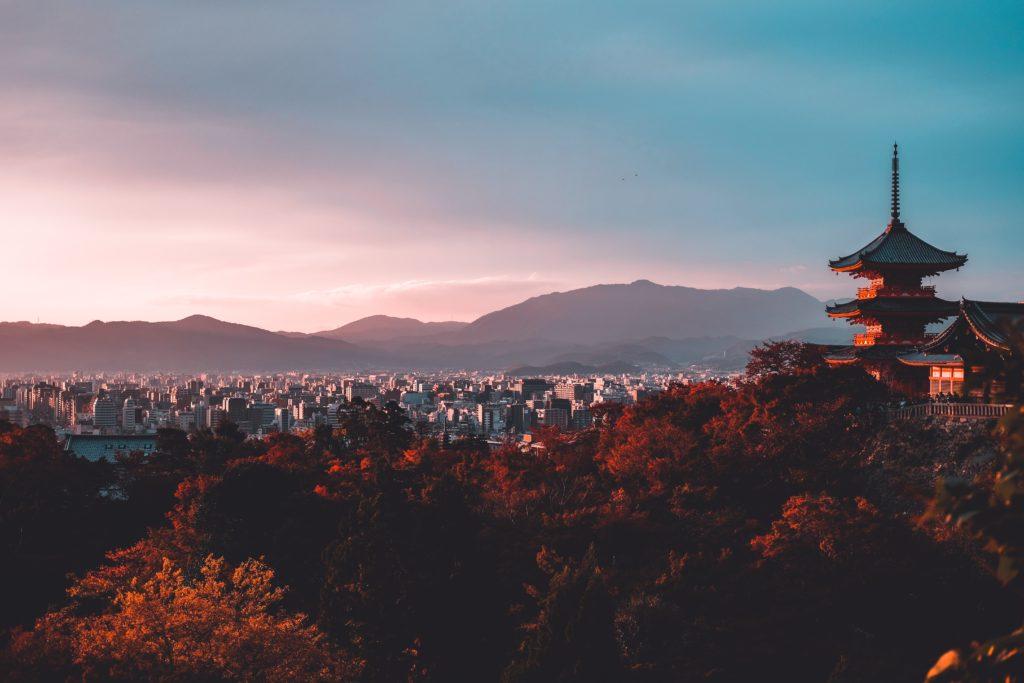 Japan city & mountain view