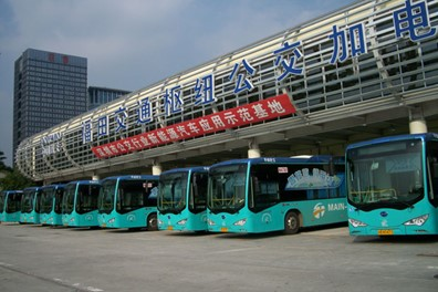 Shenzhen's electric bus fleet is the largest in the world.