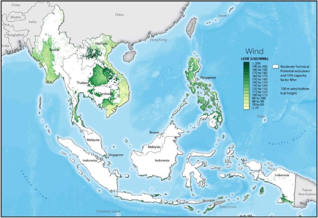 LCOE for Wind in Vietnam. Source: RE Explorer