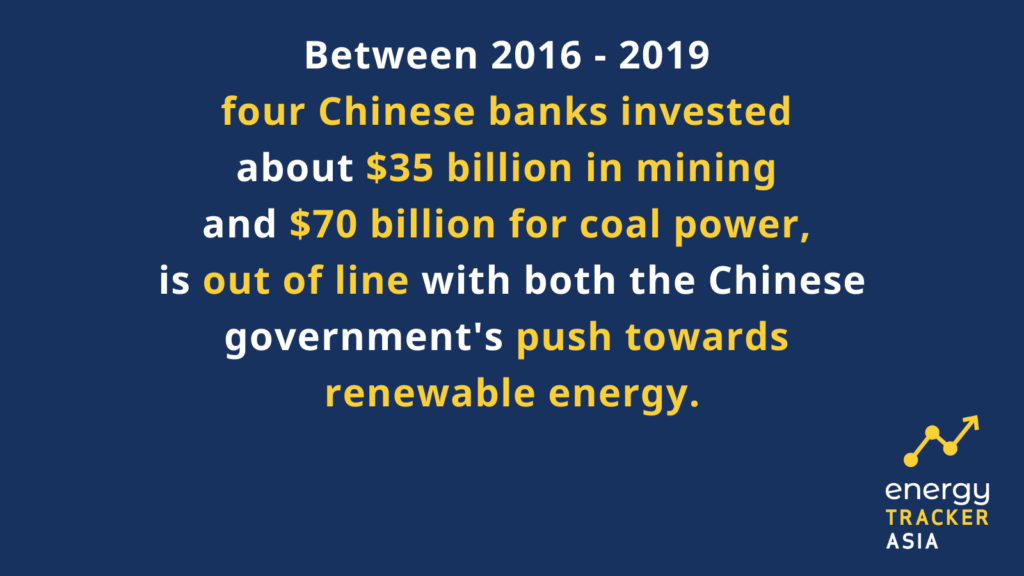 Chinese banks investment in mining and coal power, contrary to government push towards renewable energy