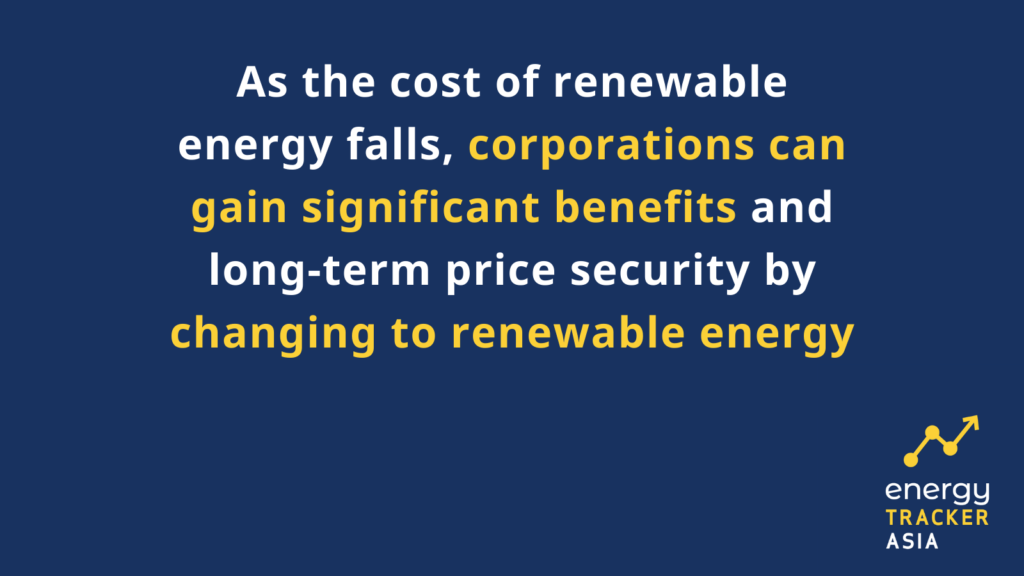 As the cost of renewable energy falls corporations can gain significant benefits and long-term price security by changing to renewable energy