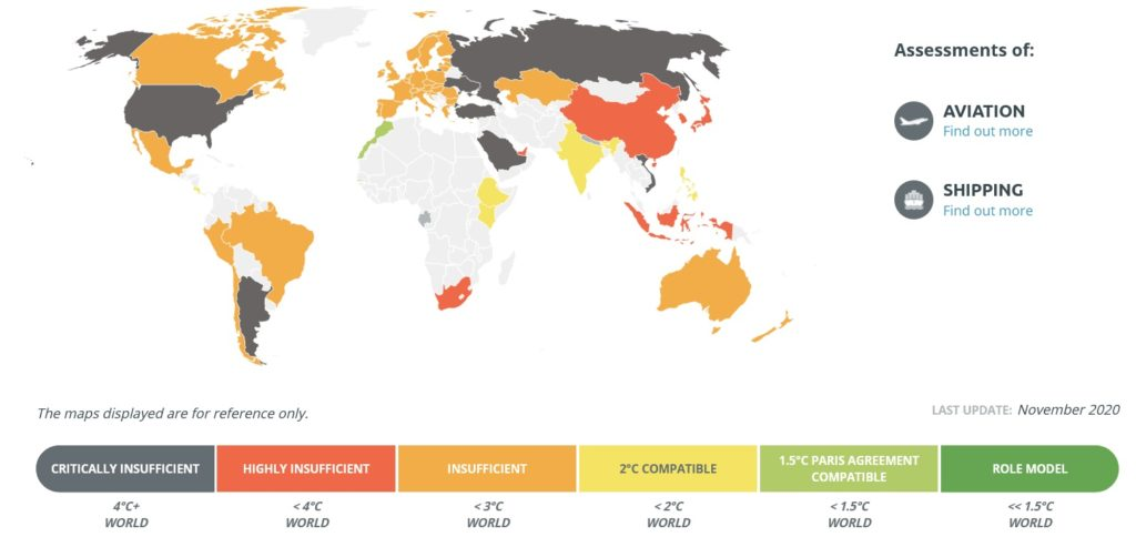 Global Paris Agreement Progress map